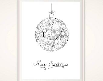 Christmas PRINTABLE, Christmas Print, Christmas Bauble, Christmas Wall Art, Merry Christmas Decor, Christmas Home Decor Ideas, Holiday Decor