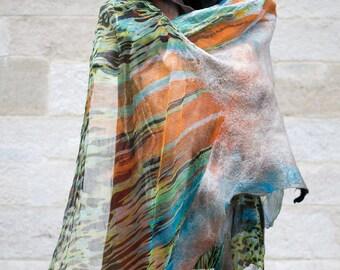 Fashion silk scarf, Nuno felted scarf,wool scarf, evening shawl art scarves/nuno felted wrap/Eco-friendly scarf/nunofelting scarf/silk scarf