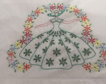 Vintage pillowcase with embroidery belle beautiful embroidery