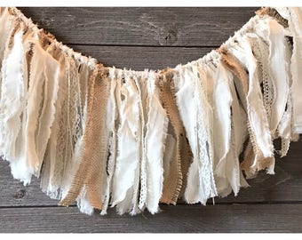 Muslin, lace and burlap garland