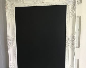 Shabby Chic Chalkboard, White Distressed, Magnetic Chalkboard, Wedding Seating Chart, Office Organizer