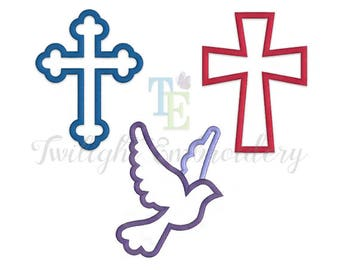 Set of 3 Cross Embroidery Designs, Cross Applique Designs, Dove Embroidery Design, Dove Applique, Christian Embroidery Designs, 0034