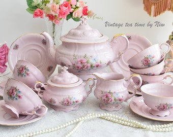Tea set vintage porcelain vintage tea set Slav porcelain tea cup set porcelain teacup set pink porcelain set