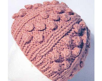 Pink Bobble And Rib Knit Beanie Hat