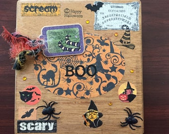 Halloween decor, altered vintage cigar box, decorative cigar box.  Handmade collage made of vintage and antique embellishments.