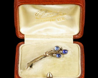 Antique Victorian Boxed Sapphire Halleys Comet Brooch Sapphire Diamond