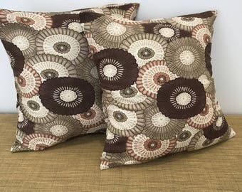"""PAIR of Art Deco Floral Scatter Cushion Covers Pillow Case. 14"""" (35cm). Cushion Covers Australia"""