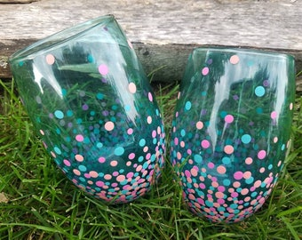 Teal pink coral confetti stemless wine glass set, Teal/pink confetti stemless wine glass set, teal/pink polka dot stemless wine glass set