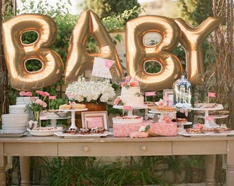 """Giant BABY Balloons -  40"""" Inch Gold Mylar Balloons in Letters B-A-B-Y  -Metallic Gold, Rose Gold or Silver - Authentic Megaloons from Italy"""