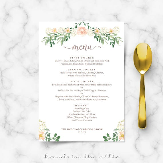 Rustic Wedding Menu Rehearsal Dinner Menu Template, Sit Down Menus