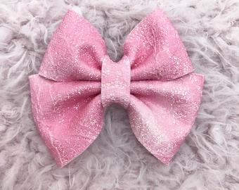 Rose glitter lace brynn bow