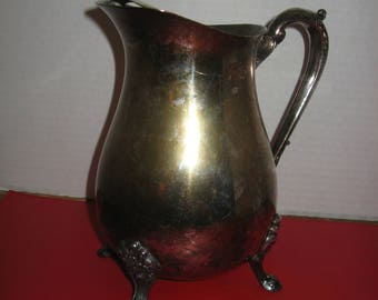 Vintage Footed Silverplate Water Pitcher with Ice Guard - No Makers Mark (Possibly Oneida