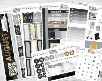 """AUGUST MONTHLY VIEW   """"A Day At The Office"""" Glossy Kit   4 Pages, 150+ Stickers"""