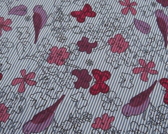 """Decor Fabric, Bird Print, White Cotton Fabric, Home Decor Accessories, 43"""" Inch Floral Fabric By The Yard ZBC5940"""