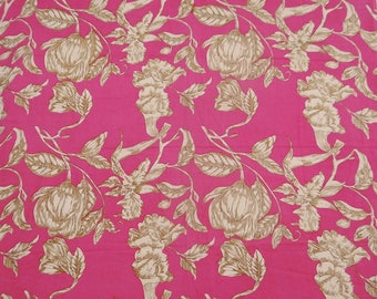 """Brown Floral Print, Pink Designer Cotton Fabric, Home Decor, Dressmaking Fabric, 44"""" Inch Fabric By The Yard ZBC7312A"""
