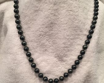 "summer17 Hematite Glass Bead 24"" Necklace - CA 1950's - Item NK124"