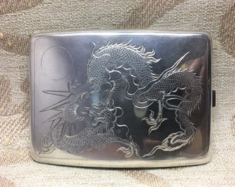 Antique Chinese Export Solid Sterling Silver Cigarette Case