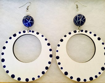 5in long 3in Wide Hand Painted White and Blue Dotted Earrings