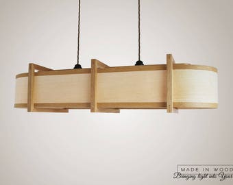Wood Pendant Light / Ceiling Lamp / Kitchen Lighting / Chandelier / Bar  Pool Table.