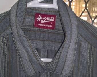 Vintage 80s Hosma s/s striped shirt. 80s Formal Shirt. 80s business shirt. Size L