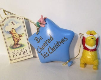 Classic Winnie Pooh Piglet Balloon Be Cheered It's Christmas Ornament Midwest of Cannon Falls