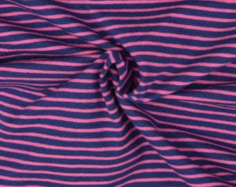 Navy and Pink Stripe Cotton Lycra Jersey Knit Fabric