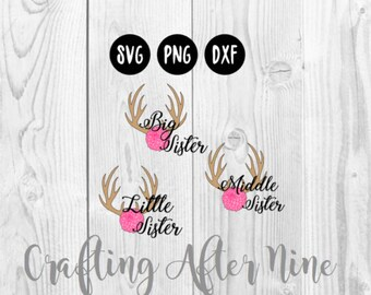 Big Sister SVG File, Little Sister, Middle Sister Siblings Cutting File, Big Sister PNG Image, Cutting Files for Cricut or Cameo, Silhouette
