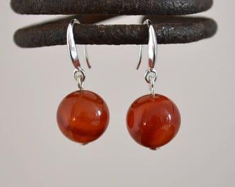 Red agate earrings, Agate earrings, Agate silver earrings, French hook red agate earrings, Silver earrings red agate, Agate drop earrings.
