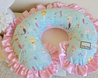 Mermaid Boppy Cover, Girl Nursing Pillow Cover, Pink Boppy Cover, Girl Boppy Cover, Aqua Boppy Cover