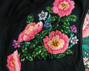 Hand embroidered black tank top with wild roses and wildflowers