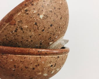Pair of Pottery Bowls / Orange Pottery Bowls / 1980's handmade pottery bowl / speckled pottery bowl pair