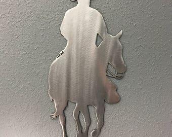 Cowboy 5 Metal Wall Art Decoration Skilwerx  12x6 Western cowboy