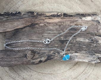 Scottish Sea Glass and sterling silver ankle bracelet in bright turquoise