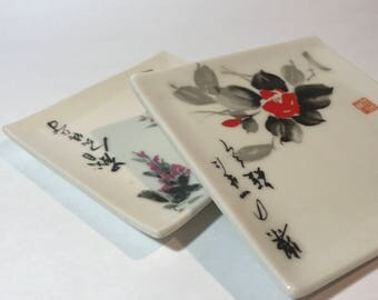 Square Hors d'oeuvres Plates - Asian Design and Signature