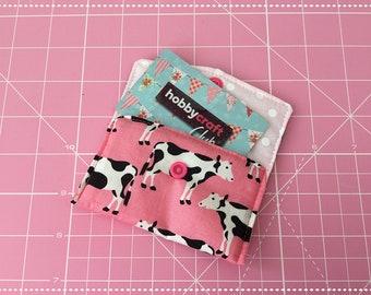 Pink cow credit card hokder