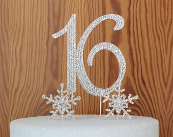 "Sweet ""16"" OR 15 in gorgeous silver crystal rhinestone birthday cake topper cake decoration with 2 crystal rhinestone snowflakes"