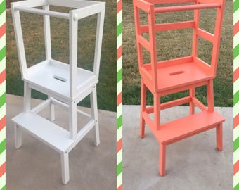 Montessori Kitchen Helper / Toddler Tower Step Stool, kitchen stool, wood stool