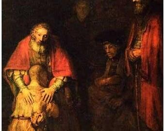 Rembrandt Return of the Prodigal Son Art Rare Vintage Poster
