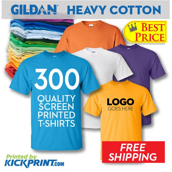 300 Gildan Heavy Cotton Custom Screen Printed T-Shirts FREE