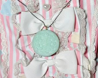Blue oreo charm necklace/ Kawaii oreo charm necklace