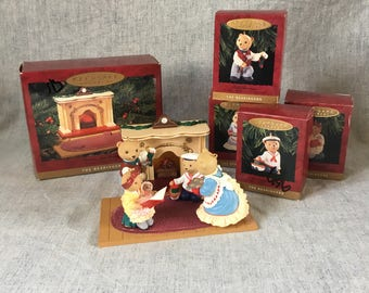 Vintage Hallmark Keepsake Ornaments, The Bearingers of Victoria Circle Victorian Christmas Figurines, Set of 5