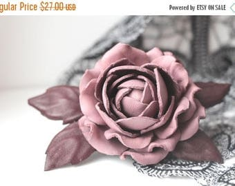 SAVINGS Leather Dusty Rose Flower Brooch, Leather jewelry, leather rose, gift for her, wedding anniversary, Mothers Day gift, leather brooch