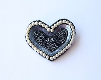 Handmade grey and white brooch of beads/sequins/beads/gift for her/Valentine