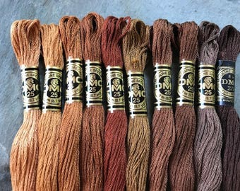 DMC Pearl Cotton Floss #25, Brown Color Pack, Needlepoint Threads, Crewel, Embroidery, Perle Cotton, Sale .40 each