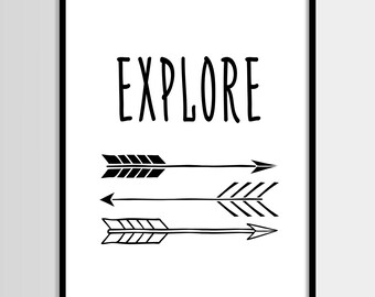 Arrows, Explore, Scandinavian, Kids print, Nursery, Kids room, Printable Wall Art, Childrens print, Digital print, Instant Download 8x10