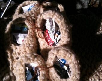 In soft Merino Wool baby booties