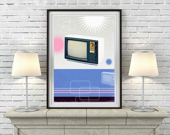 Vintage Retro Television Advert Art Print or Canvas 'Unframed'  - technology TV (up to A1 size) - P&P WORLDWIDE