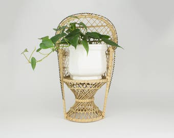 Vintage Rattan Furniture - Peacock Chair- Bohemian - Plant Stand - Doll Furniture - Boho Chic - Miniature - Plant Holder - Mid Century