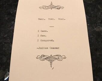 Julius Caesar Quote Typed on Typewriter