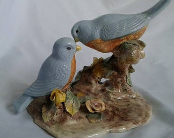 Vintage  Blue Birds Ceramic Sculpture, Artist Signed Irene Riese, 1948